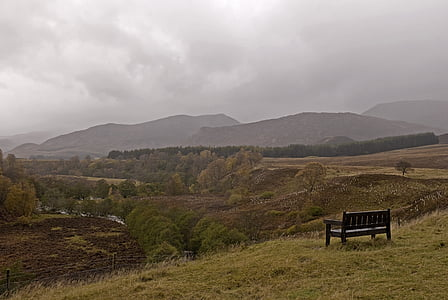 scotland, scenery, bench, landscape