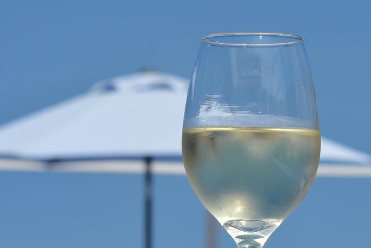 veini, Holiday, klaas, sinine taevas, valge vein, lõõgastus, nautida