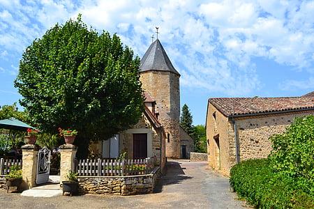 poble medieval, l'església medieval, Dordonya, França, audrix, porta, Calder
