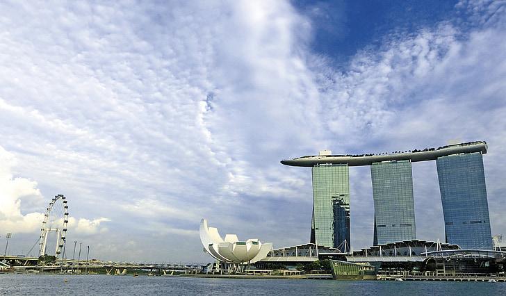 singapore, marina bay sands, singapore landmark, singapore flyer, singapore river, blue sky, hotel