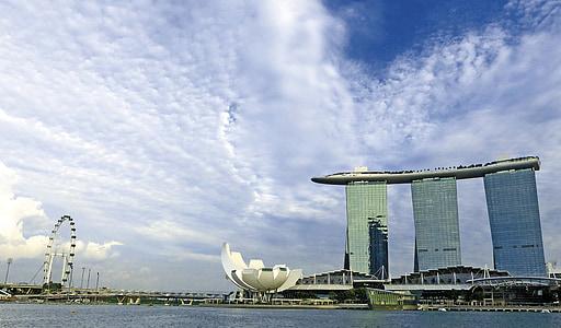 Singapura, Marina bay sands, Singapura landmark, Singapore flyer, Sungai Singapura, langit biru, Hotel
