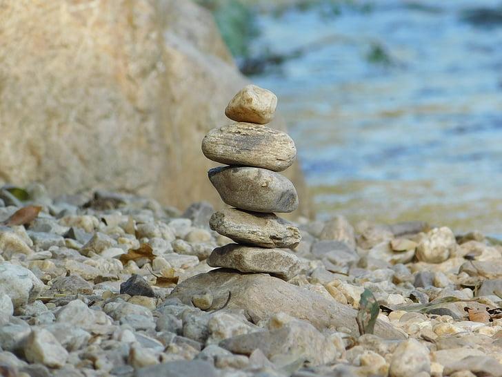 Rocks, stacken, floden, stenar, småsten, staplade-stenar