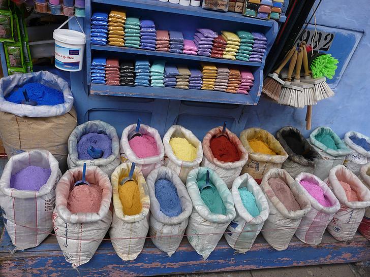 цветни, картини, Мароко, пазар, Магазин, много цветни