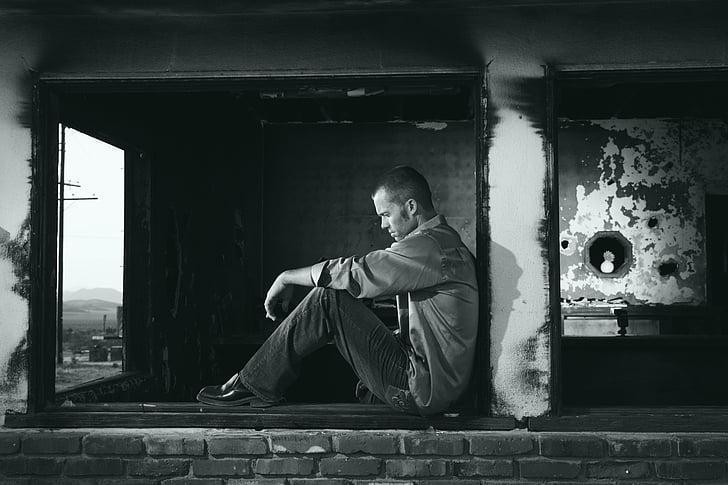 černobílé, v depresi, deprese, osamělý, muž, osoba, Smutné