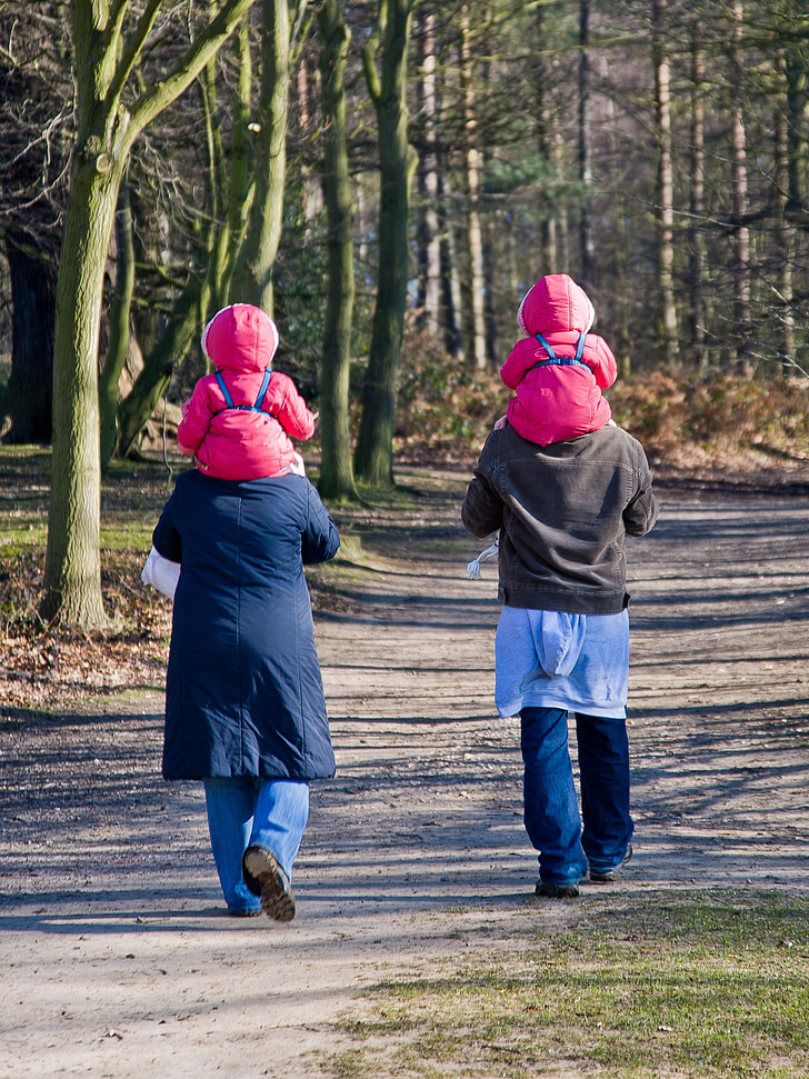 twins, parents, walking, mother, family, people, love