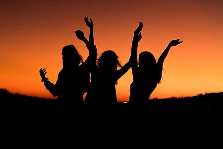 oransje, himmelen, solnedgang, silhuett, folk, jenter, kvinner