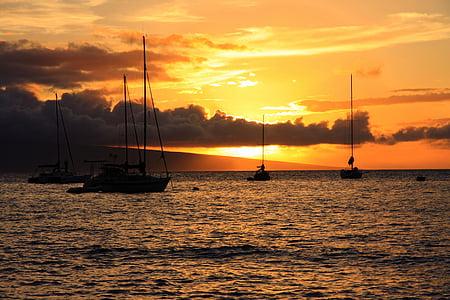 coucher de soleil, Hawaii, Maui, eau, océan Pacifique, nuages, Sky