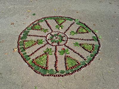 kastanid, Mandala, Sügis, Sügisene, Park, ornament, hooaja