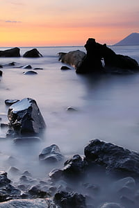 platja, posta de sol, paisatge, natura, Mar, Roca - objecte, representacions