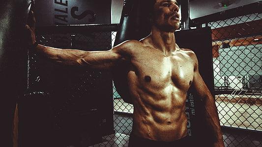 Фитнес, тяло, орган, изграждане, мъж, Секси, шест пакет, добра форма