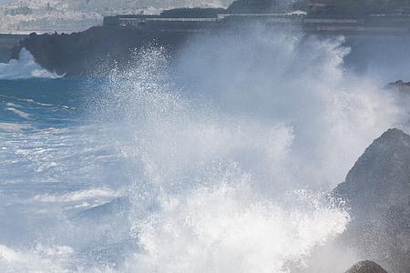 Costa, Roca, oceà, inundació, Mar, ona, l'aigua
