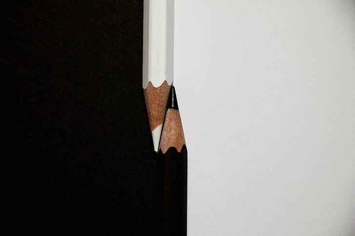 彩色铅笔, 大, 黑色, 白色, 黑色和白色, 铅笔, 木材-材料