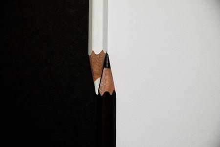 llapis de colors, gran, negre, blanc, blanc i negre, llapis, fusta - material