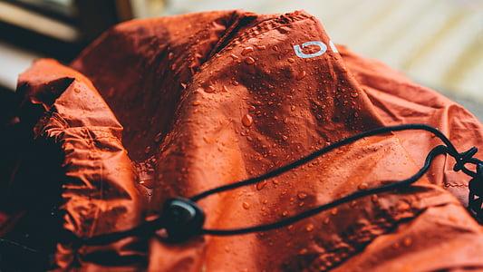 red, jacket, wet, water, drops, rain