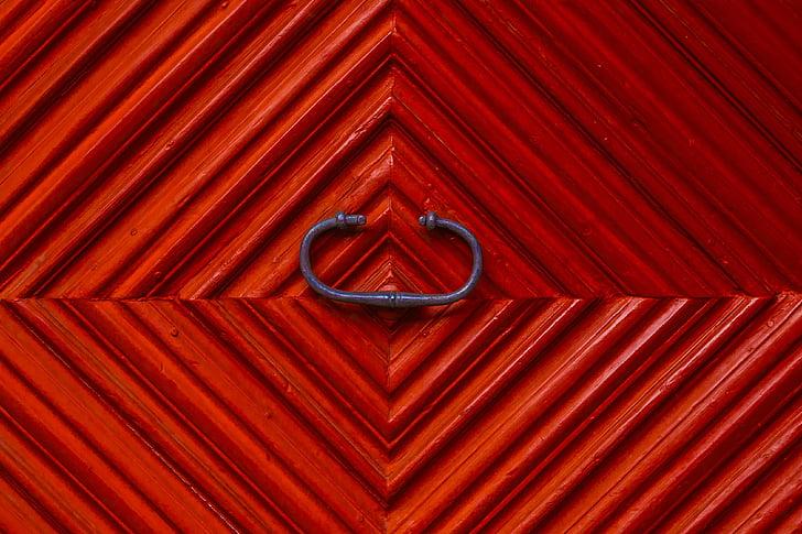 tekstūros, medienos, durys, raudona, durų rankenėlė, struktūra, geometrinės formos