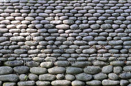 Pierre, rouleau, mur, jardin, Japonais, jardin japonais, Zen