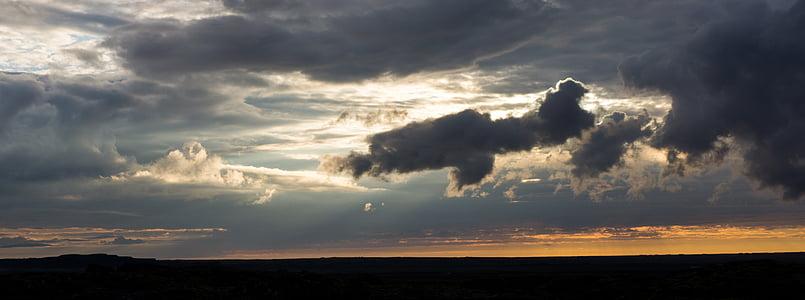 σύννεφα, το βράδυ, ηλιοβασίλεμα, βραδινό ουρανό, ουρανός, τοπίο, σιλουέτα