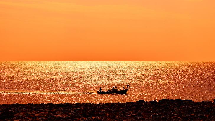 mar, barco, pôr do sol, ouro, luz do sol, Horizon, tempo de pesca