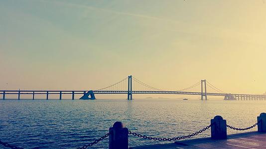 dalian, beach, sunset, city, china, sea, bay