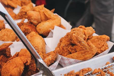 praetud kana, kana, kiirtoit, jahu, Praetud, toidu, Restoran