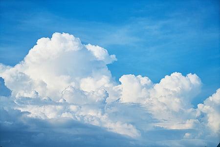 sininen, taivas, tausta, pilvet, valkoinen, Luonto, kevään