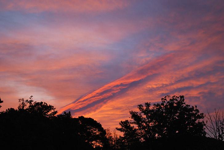 posta de sol, núvols, cel, sol, natura, paisatge, fons posta de sol
