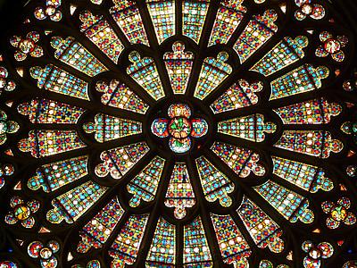 Biserica fereastra, rozetă, fereastră de sticlă, colorat, model, lumina, arta