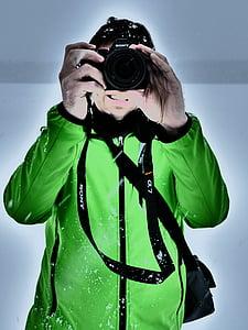 photographer, photograph, snow, winter, jacket, light green