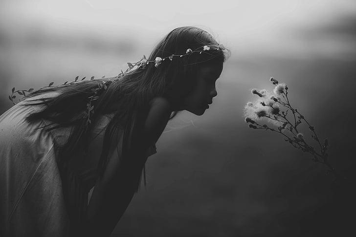 cô gái trẻ, thần bí, màu đen và trắng, cảnh quan tuyệt đẹp, thần bí, chân dung, trẻ