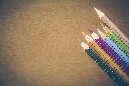 värvilised pliiatsid, pliiatsi, pliiats, Värv pliiatsid, värvipliiatsid, Värv, Erinevad värvilised värvipliiatsid
