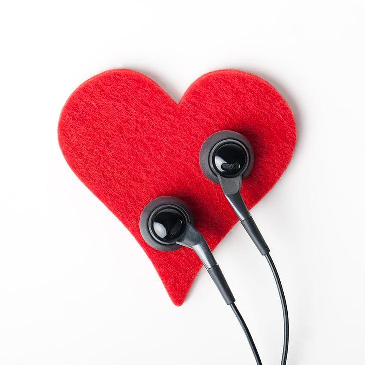 hjerte, øretelefoner, objekt, lytte, hovedtelefoner, stetoskop, sundhedsvæsen og medicin