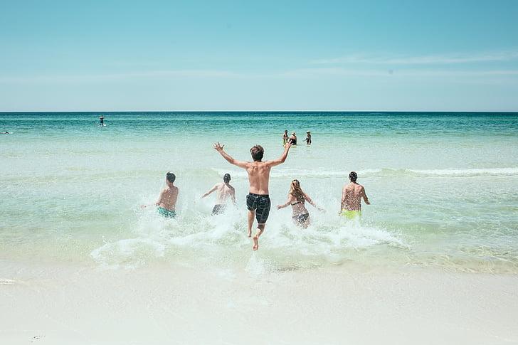 beach, ocean, people, running, sea, seashore, sky