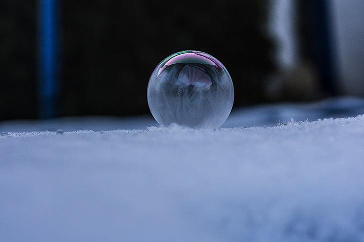 frozen, soap bubbles, winter, frozen bubble, cold, wintry, eiskristalle