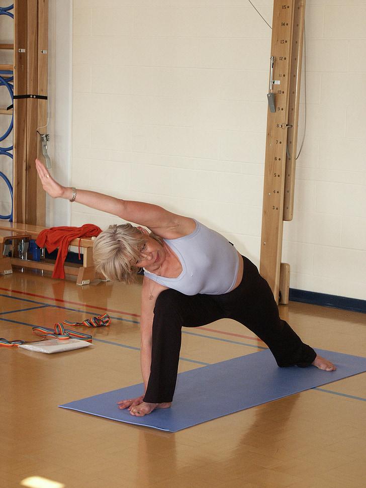 Yoga, Yoga arbejdsstillinger, strækning, kropsholdning, sundhed, motion, kvinde
