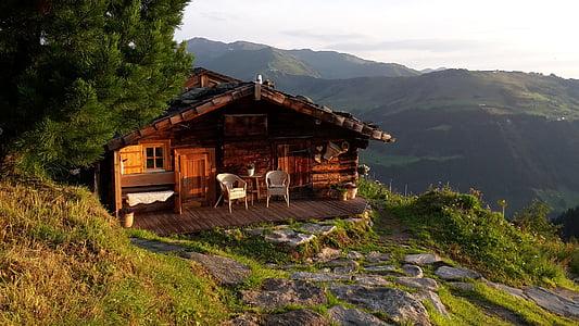 horské chaty, hory, chýše, alpské, krajina, Příroda, Alm chatě