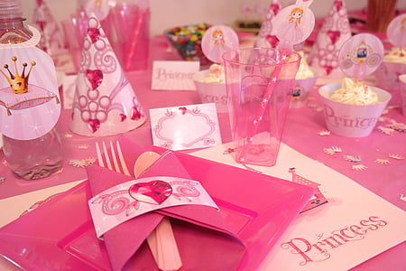 l'adoption de, Parti, princesse, événement, enfant, table à manger, préparation de la