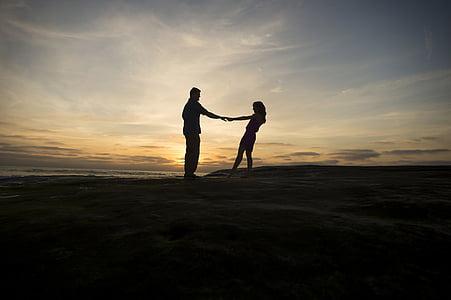 silhuet, par, Sunset, fyr, mand, Lady, kvinde
