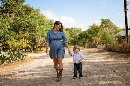 maternitat, femella, maternitat, l'embaràs, feliç, nen, mare