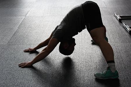 stretchen, tram, calor, esport, músculs, esportiu, homes