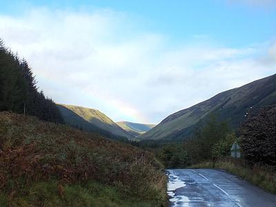 road, rain, rainbow, scotland, north scotland, uk nature