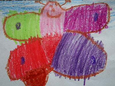 butterfly, children drawing, colorful, spring, child, painting, paint