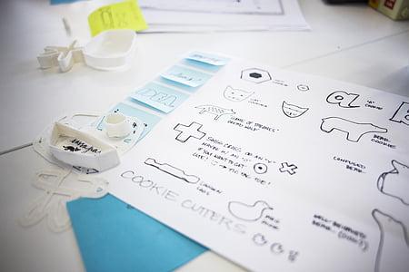 croquis, Doodle, idée, dessin, ensemble, conception, main