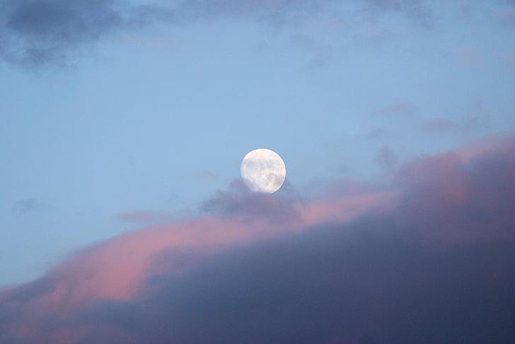 đám mây, bầu trời, màu xanh, Mặt Trăng, Trăng tròn, sáng sủa