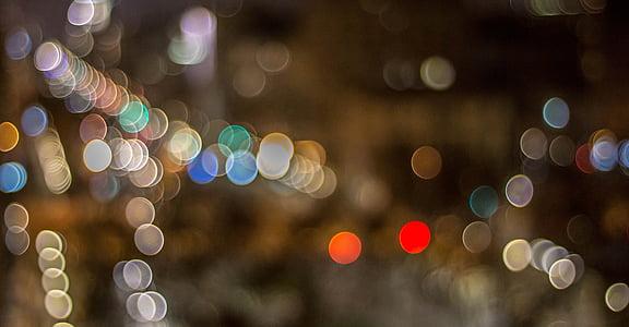 bokeh, city lights, night, barcelona, spain, urban, light