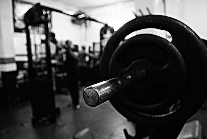trenažieru zāle, akadēmija, hanteles, svars, muskuļu, dzelzs, kultūrisms