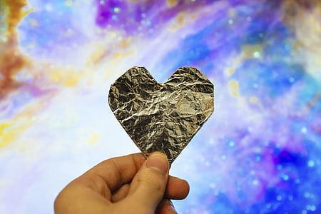 szív, Art, design, kéz, ráncos, ezüst, szerelem