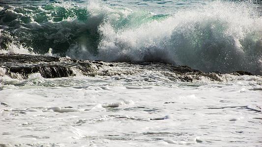 ona, trencant, Mar, platja, natura, esprai, escuma