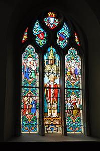 vitrāžu logiem, baznīca, kapela, Francija, vitrāžas, katoļu, logs