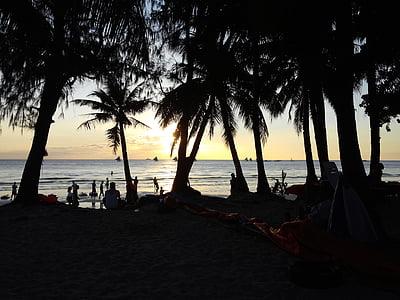 Boracay, paplūdimys, poilsio zonoje, kelionės, palmė, Gamta, sala