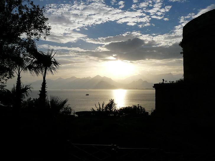 mar, perspectivas, palmeiras, idílio, férias, oceano, montanhas